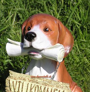 Beagel Tierfigur Hund mit Zeitung Figur Haustür - Vorschau 4