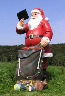 Weihnachtsmann Nikolaus in lebensgröße Figur Weihnachtsfigur Statue Skulptur Sack Rute