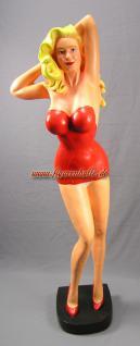 Pin Up Figur mit USA rotes Kleid als Aufstellfigur Deko