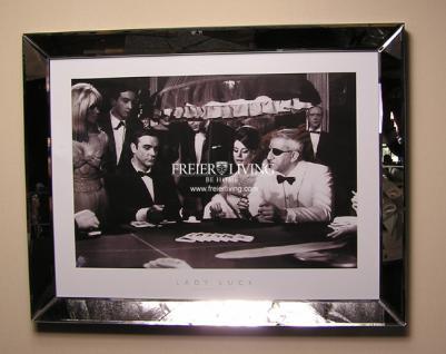 Wandbild Spiegelrahmen James Bond 007 im Casino Schwarz weiß Druck Bild Poster - Vorschau 1
