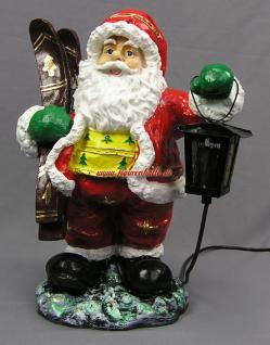 Weihnachtsmann mit Ski Figur Statue Skulptur Weihnachts Deko