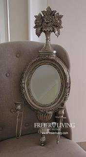 elwandspiegel antik silber farbend oval shabby chic franc deko art deco stil kaufen bei helga. Black Bedroom Furniture Sets. Home Design Ideas