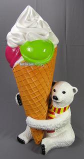 Eisbär Softeis Eistüte Figur Werbefigur Werbeaufsteller Eisdiele