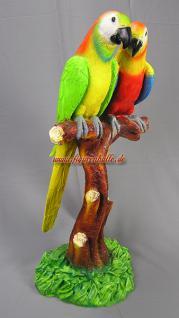 Papagei Pärchen Figur Dekoration Palme Deko Statue