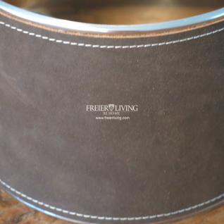 Lampenschirm rund mit Leder bezogen und Metall rahmen Braun Klassischer Wohnstil Impressionen - Vorschau 2