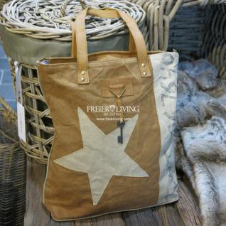 Beige Handtasche mit Stern Motiv im Shabby Chic Look - Vorschau 1