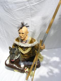 Indianer Figur Western Skulptur Wolf Dekofigur - Vorschau 2