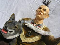 Indianer Figur Western Skulptur Wolf Dekofigur - Vorschau 4