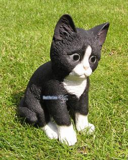 Katze schwarz weiß Figur Statue Skulptur Fan Deko. - Vorschau 1