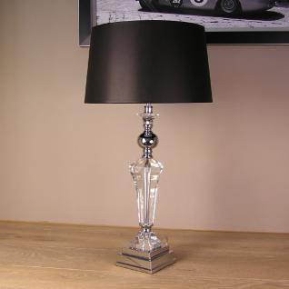 Nostalgie ca. 44 cm Tischleuchte Acrylglas Deko Shabby Chic Chrom Lampenfuß