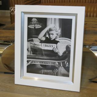 Wandbild Fotodruck Marilyn Monroe Schwarz weiß Rahmen Holz mit Alu - Vorschau 1