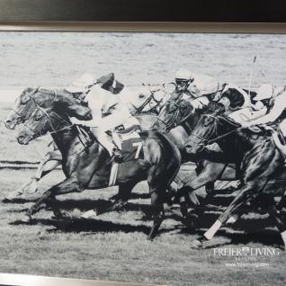 Pferderennen Wandbild Horse Racing schwarzer Rahmen Holz Aluminium - Vorschau 3