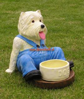 West Higland Terrier Figur mit Napf Fressnapf Dekoration