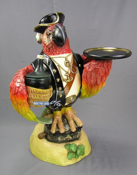 Papagei Pirat Dekofigur als Butler-Figur Telefontisch