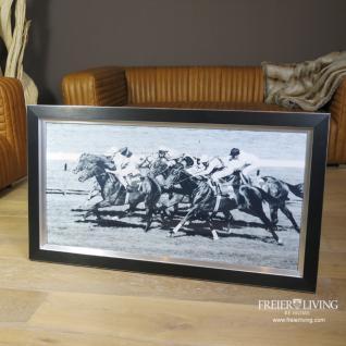 Pferderennen Wandbild Horse Racing schwarzer Rahmen Holz Aluminium - Vorschau 1