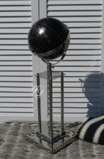 Globus schwarz auf Standfuß Aluminium Deko Büro Antik Art Deco
