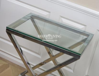 lampentisch beistelltisch x fu chrom glasplatte glastisch home interiors kaufen bei helga freier. Black Bedroom Furniture Sets. Home Design Ideas