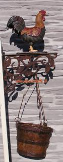 Huhn als Nostalgie und Antik Figur Deko Blumentopf Wand