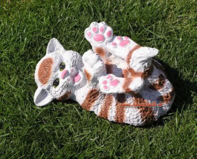 Süße Katze in braun weiß als Dekofigur Tierfigur - Vorschau 3