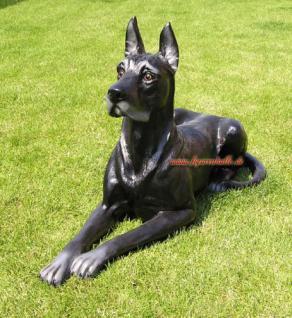 Dogge Hund Tierfigur Dekofigur schwarz Figur Deko