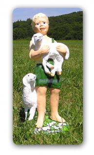Junge Schäfer Gartenfigur Garten Deko Schaf Figur