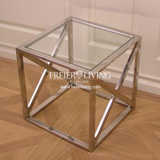 Beistelltisch Aluminium mit Glas Platte Deko