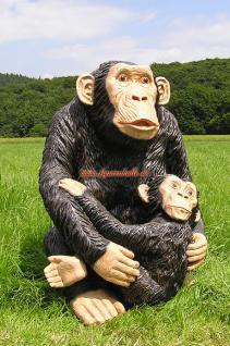 Simpanse Affe Figur Dekofigur Statue Skulptur - Vorschau 1