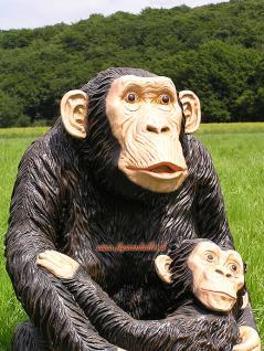 Simpanse Affe Figur Dekofigur Statue Skulptur - Vorschau 2