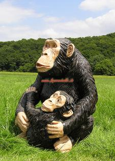 Simpanse Affe Figur Dekofigur Statue Skulptur - Vorschau 5