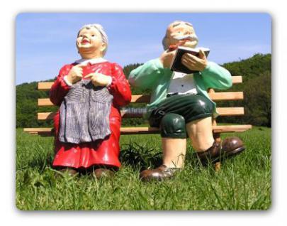 Oma & Opa auf Gartenbank Gartenfigur Figur Deko - Vorschau 1