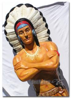 Indianer Dekofigur in Lebensgroß Figur Statue Deko
