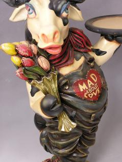 Kuh Butler Figur Dame Lustige Werbefigur Tulpen Bauernhof Statue Skulptur - Vorschau 3