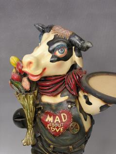 Kuh Butler Figur Dame Lustige Werbefigur Tulpen Bauernhof Statue Skulptur - Vorschau 4