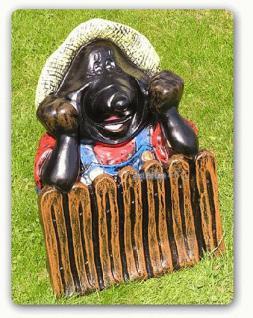 Maulwurf am Gartenzaun Gartenfigur Dekofigur