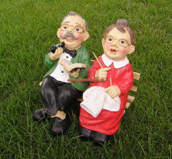 Oma und Opa mit Bank Dekofigur Figuren Statue - Vorschau 1