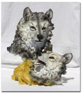 Wolf als Büste und Dekofigur