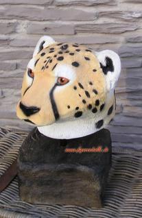 Leopard Leoparde Afrika Kopf Figur Statue Skulptur Jagd Trophaee Deko