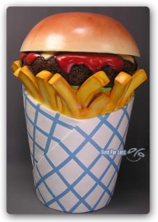 Hamburger Pommes Tüte Werbfigur Mülleimer Figur - Vorschau 1