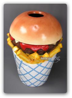 Hamburger Pommes Tüte Werbfigur Mülleimer Figur - Vorschau 2