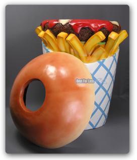 Hamburger Pommes Tüte Werbfigur Mülleimer Figur - Vorschau 4