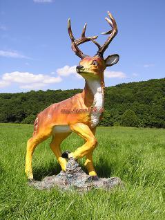 Hirsch Dekofigur Rot-Wild Statue Figur Rehbock - Vorschau 1