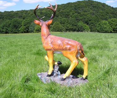 Hirsch Dekofigur Rot-Wild Statue Figur Rehbock - Vorschau 4