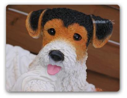 Foxterrier Figur Dekofigur in Hundekorb Statue - Vorschau 1