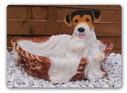 Foxterrier Figur Dekofigur in Hundekorb Statue - Vorschau 3
