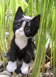Katze schwarz weiß Figur Statue Skulptur Fan Deko. - Vorschau 5