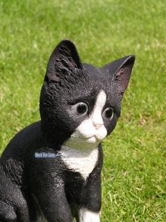 Katze schwarz weiß Figur Statue Skulptur Fan Deko. - Vorschau 2