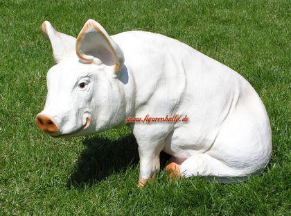Schwein sitzend Figur Aufstellfigur rosa Statue