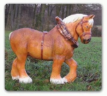 Pferd Dekofigur Kaltblüter Gartenfigur - Vorschau 1