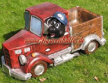 Maulwurf auf LKW Laster Dekofigur Gartenfigur - Vorschau 1