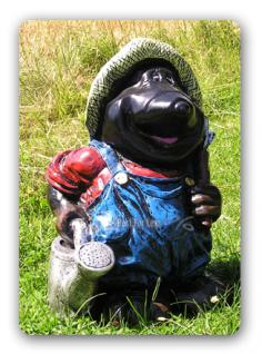Maulwurf als Gartenarbeiter Gartenfigur Dekoration